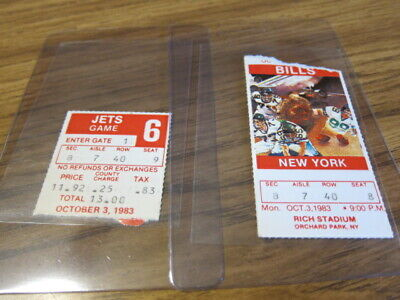 Lot of 2 - 1983 Ticket Stubs Buffalo Bills vs. New York Jets 10/03/1983