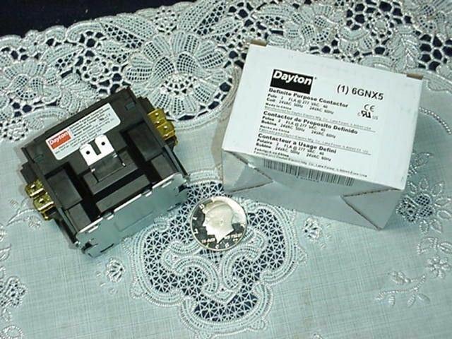Dayton 6GNX5 Definite Purpose Contactor, 2 Pole, 40 FLA at 277V, Coil 24VAC NEW!