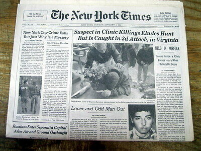 1995 Ny Times Newspaper Planned Parenthood Abortion Killer John Salvi Captured
