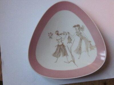 Hutschenreuther Diadem kleiner Teller dreieckig Frauen mit Vogel Golddekor