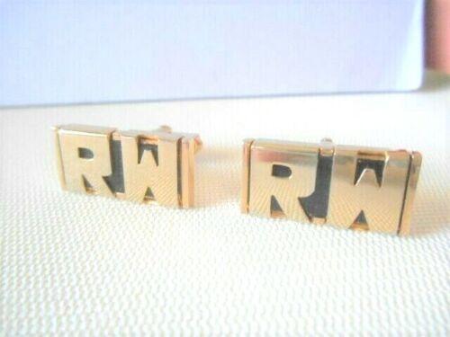 "Vintage SWANK Goldtone & Black Initials ""RW"" Cufflinks"