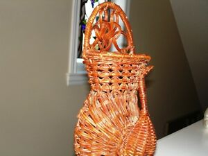 PEACOCK vintage wicker Wall Pocket Basket – very beautiful Cambridge Kitchener Area image 5