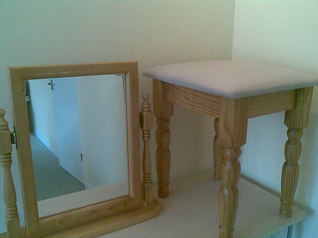 MIRROR AND MATCHING STOOLin Dersingham, NorfolkGumtree - MIRROR Swing mirror for dressing table, in lovely condition, wooden frame and housing believed to be pine. Approximate measurements as follows Height 18.5ins 47cms, Length 19insins 48cms, Depth 5ins 12cms. MATCHING STOOL Padded seat in dusky pink,...