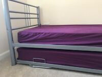 single bed with underbed ,with durable metal frame
