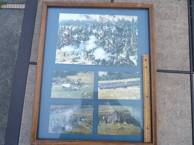 Large Battle Civil War Reenactment Pictures with Wood Frame and Glass