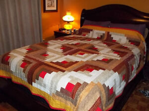Log Cabin Queen Size Quilt / NEW PRICE