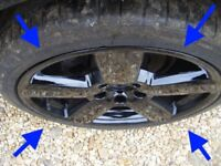 "Audi S3 RS6 GLOSS BLACK 18"" ORIGINAL alloy wheels RONAL GENUINE A3 8P TT GOLF CADDY TOURAN POLO seat"
