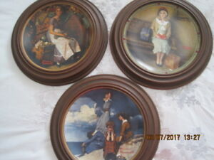 Table, 3 framed Norman Rockwell Plates, Bedroom Chest