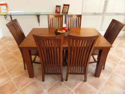 SOLD - FREEDOM Solid Timber Dining Table & Chairs (7 Pieces) Lilli Pilli 2229 Sutherland Area Preview
