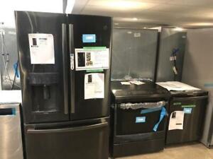 Combo 3 électroménagers en acier inoxydable noir, GE