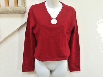 (LUCIDITY Sweater Size L, Color - Red, 58% Rayon, 13% Nylon, 6% Metallic  )