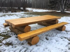 Custom built live edge log picnic table