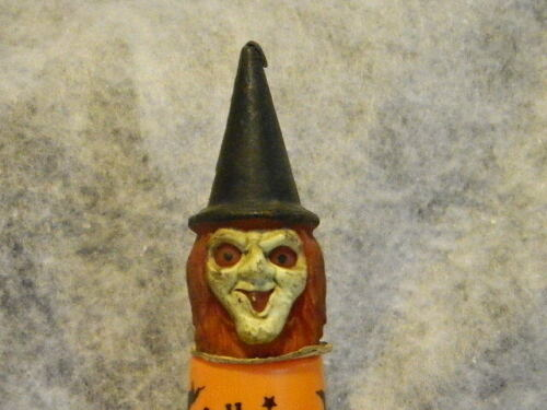 VINTAGE GURLEY`S WITCH HEAD HALLOWEEN CANDLE W/ FREE HALLOWEEN CUP