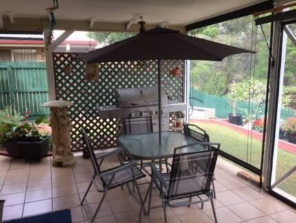 Marquee Cacuarina Patio Setting & Umbrella