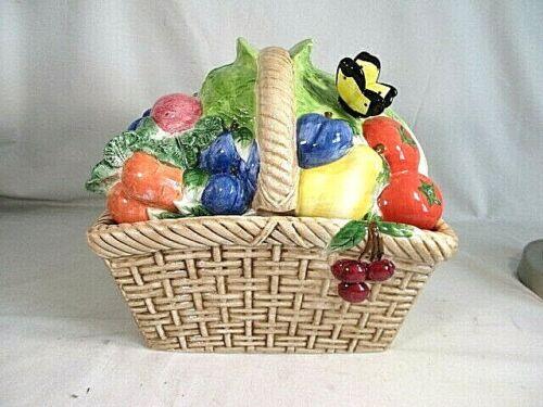 Vintage Fruit Vegetable Basket Ceramic Cookie Jar  by CIC Very Nice