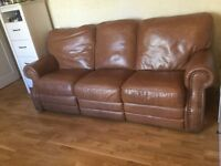 Brilliant quality 3 sweater leather sofa and 2 matched arm chairs