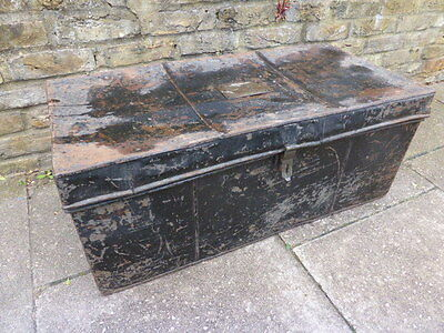Large antique black metal church trunk