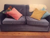 Vintage Velvet Blue Sofa bed - great condition