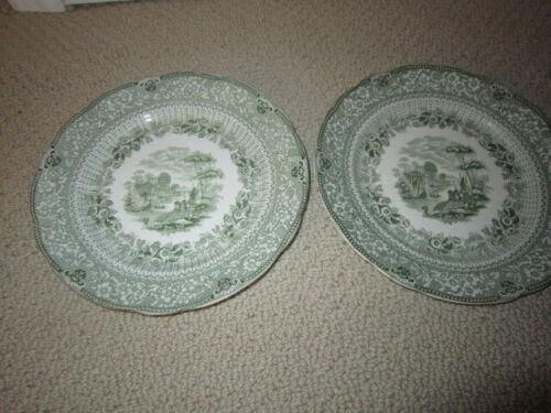 "Two Antique Green Transferware Ridgeway Grecian Pattern 8"" Plates"