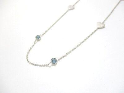 Authentic GUCCI Silver Light Blue Color Stone Necklace w/ Dust Bag