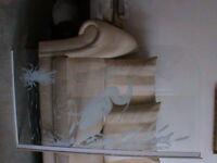 Retro bath screen. Toughened safety glass with white design of heron bird scene