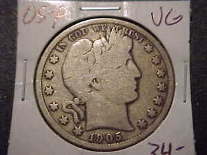 1905-P  VG   Barber Half Dollar   L,Y and part of I,T    Low Mintage Date  #2