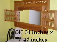 GORGEOUS HAND-CARVED OVER-MANTEL MIRROR DOORS 31 INCHES x 47 INCHES