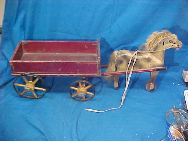 19thc VICTORIAN Era Wood HORSE w WAGON PULL TOY Original Paint