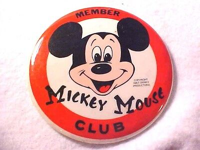 "Vintage MICKEY MOUSE CLUB MEMBER Large 3 1/2"" ROUND BUTTON PIN Walt Disney"