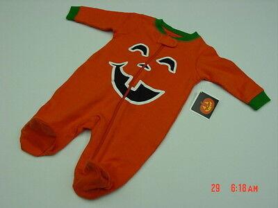 NWT Infant Boys Halloween Themed Playsuit Orange Pumpkin Crooked Smile Fun New - Halloween Playsuit