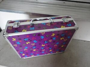 Purple butterfly printed storage suitcase container box decor London Ontario image 2