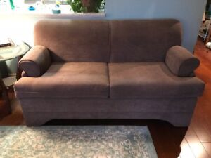 Light brown sofa bed with IKEA mattress