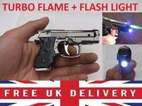 Gun Shaped Cigarette Lighter - 100% Metal + Torch & Turbo flame ** Windproof **