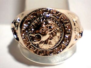 Awesome Heavy Men's Lions Head Simulated Coin 14Kt. Gold / Silver Plated Sz 11.5