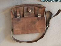 """Large vintage leather satchel with front pocket 16"""""""