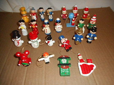 lot 23 small vintage wood wooden Christmas tree ornaments Santa snowmen angel +