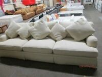 *+BESPOKE*** 5 ***SEATER SIZE CREAM BEAUTIFUL FABRIC SOFA WITH CUSHIONS/GOOD CONDITION/DELIVERY AVAI