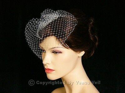 "Handmade White 9"" Bridal Wedding Birdcage Blusher Face Veil"