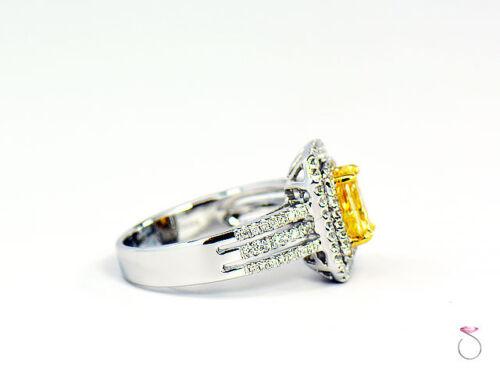 Natural Fancy Intense Yellow Diamond Ring, 1.02 ct. 18K White Gold 1.40 CTW. GIA 5