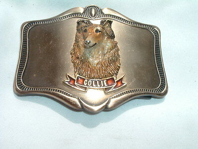 Vintage Collie Dog Belt Buckle Metal and Enamel in Gift Box