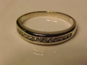 #3326   VERY NICE Diamond wedding band Fashioned out of 14k White Gold -12 Channel set Brilliant cut DIAMONDS FREE S/H