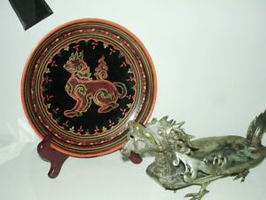 fine BURMESE LACQUER antique WOOD Plate FOO LION gorgeous PanYun Cambridge Kitchener Area image 2