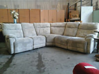 Large fabric corner sofa with 2 end recliners