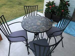 Wrought Iron Table with Mosaic Slate top & 4 Wrought Iron Chairs Nudgee Brisbane North East Preview