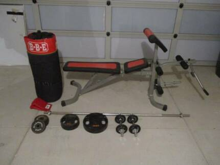 WEIGHT BENCH, BARBELL, DUMBELL SET, PUNCHBAG