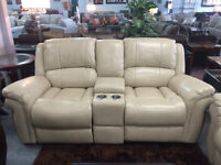 BRAND NEW AIR LEATHER ROCKING RECLINING LOVE SEAT (2 COLOURS)