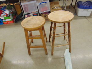 2  Wooden Stools Oak And Maple