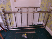 Antique Brass Design Double Size HeadBoard with Onyx Decorations