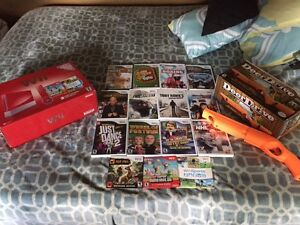 NINTENDO WII WITH 15 GAMES **RED MARIO EDITION**