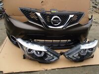 Front package Bumper Grill and LHD headlight Nissan Qashqai facelift 2010-2013